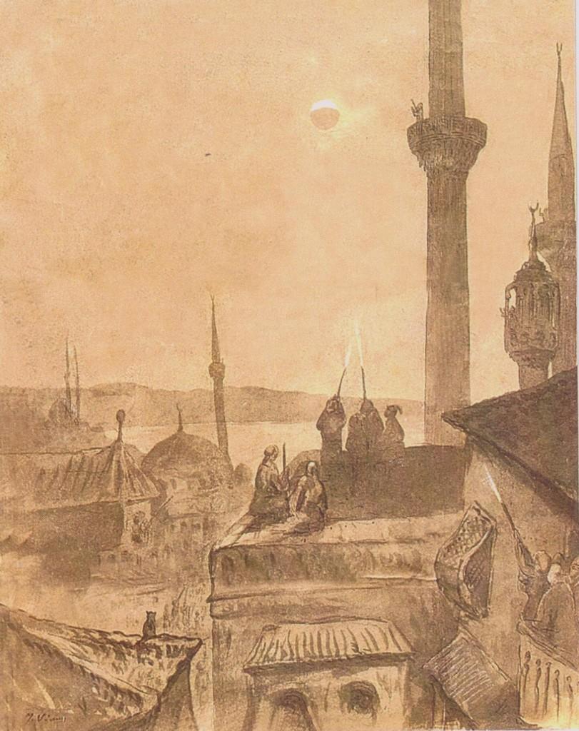 14- Eclipse de Lune à Stamboul le 27 février 1877, dessin de Pierre Loti