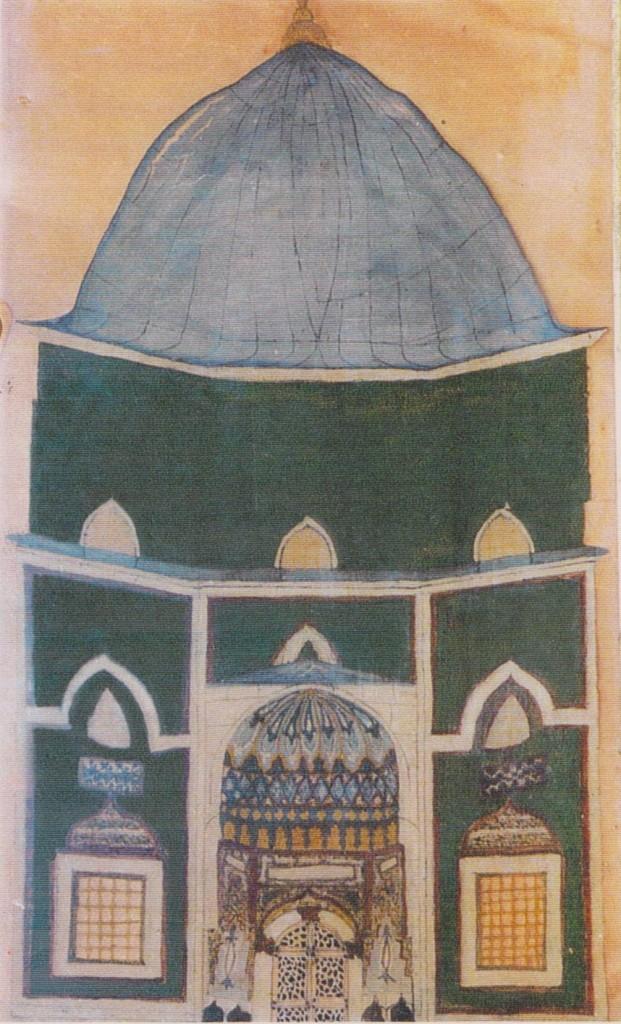 4 - 15 mai 1904, Mehmet Effendi, iman de la mosquée verte de Brousse donne à Pierre Loti une peinture sur verre de sda main et représentant le Turbé vert.