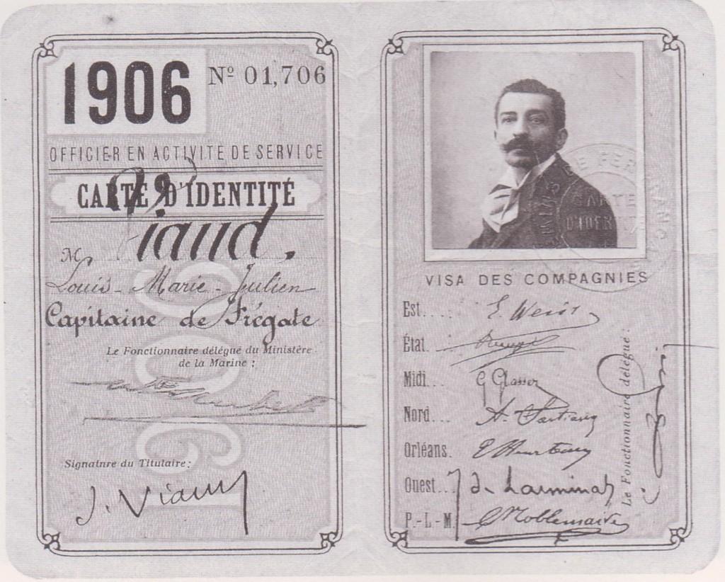 carte d'identitédu début 1906 ---mais la photo est antérieure...elle donne droit au tarif militaire sur les réseaux de chemins de fer français.