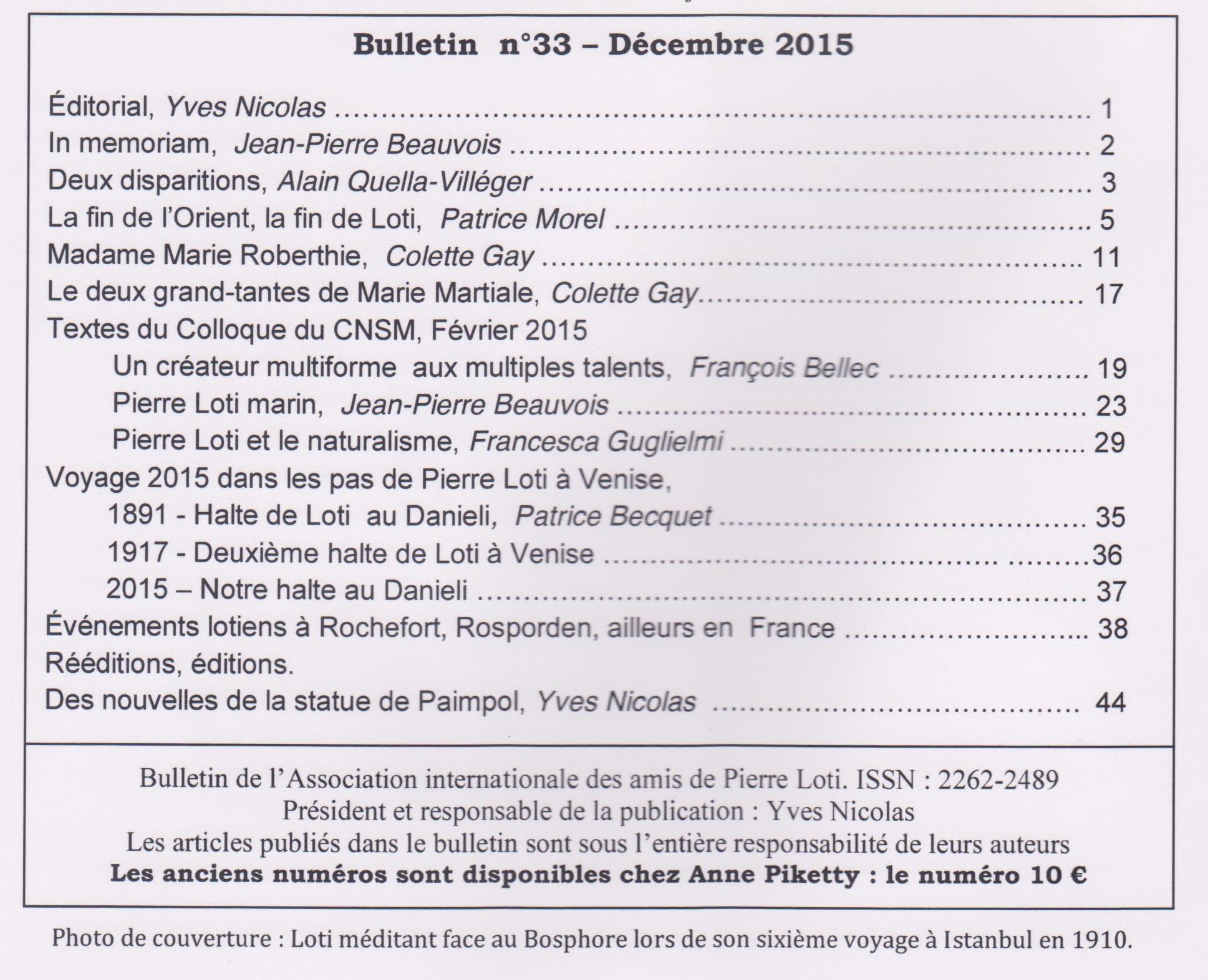 sommaire bulletin n°33
