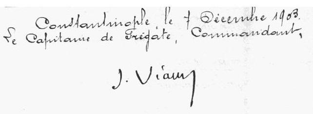 signature capitaine de frégate J. Viaud - journal de bord du Vautour