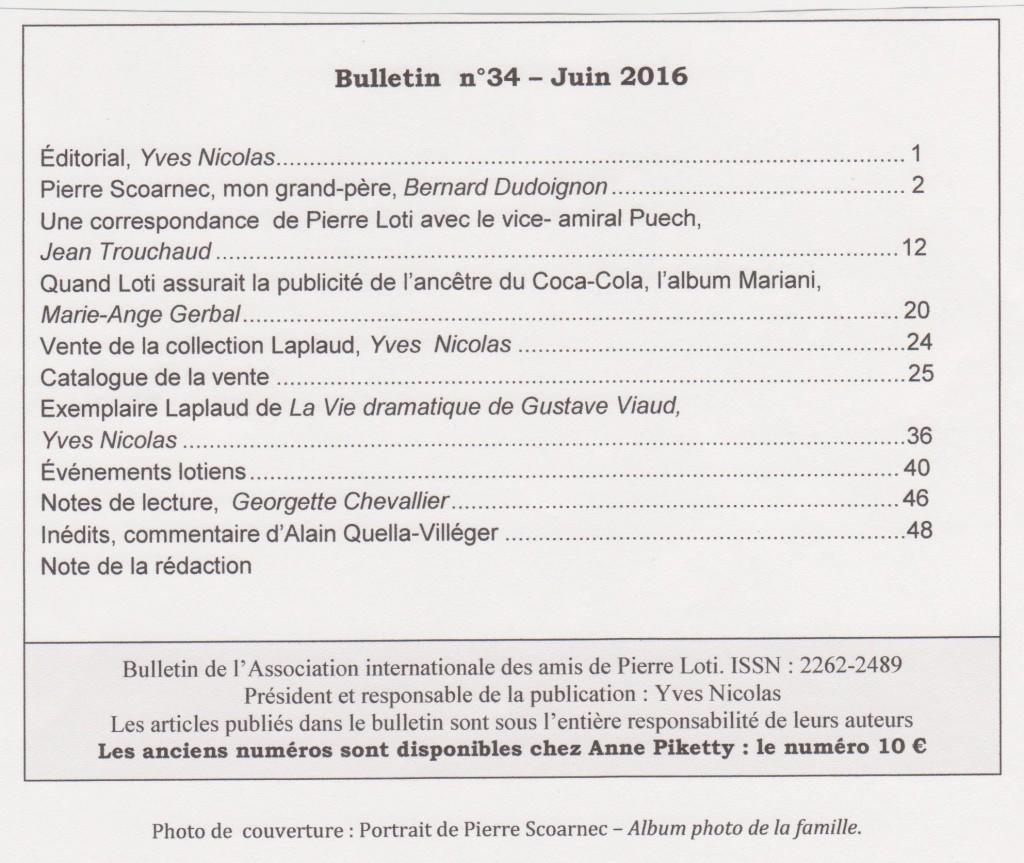 sommaire bulletin n° 34