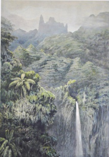Reconstitution de la cascade de la Fataua par Pierre Loti (extrait de la collection Margueron)