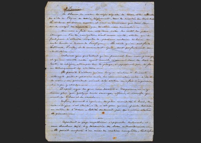 Julien Viaud dit Pierre Loti (1850-1929), manuscrit du journal Rapa Nui, janvier 1872