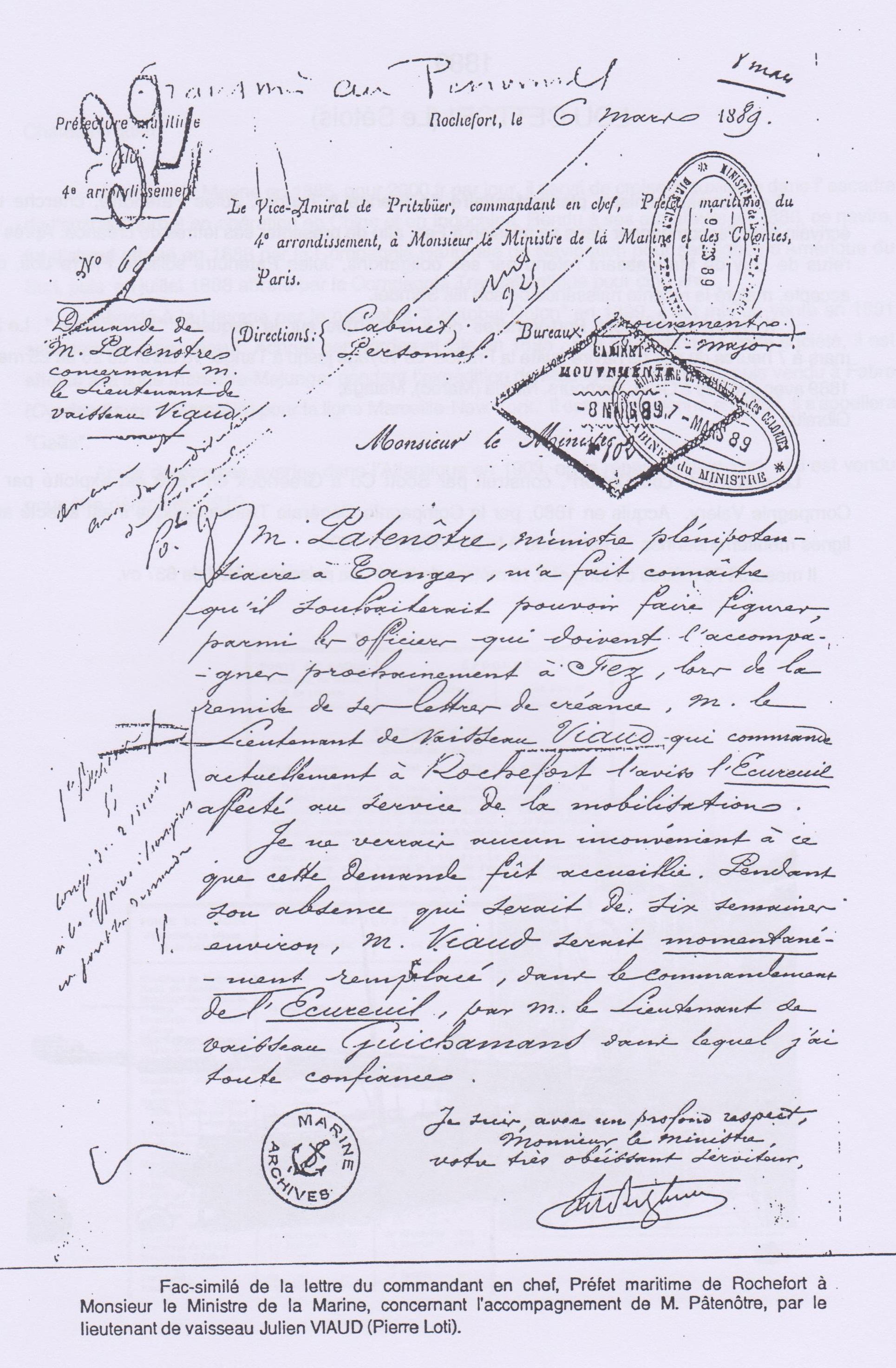 Fac similé lettre Patrenôtre-Maroc