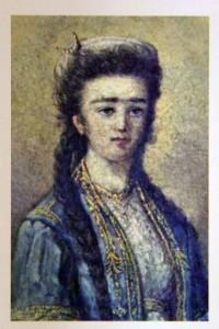 Aziyadé-Portrait d'Aziyadé à l'huile, attribué à Marie, soeur aînée de Loti.