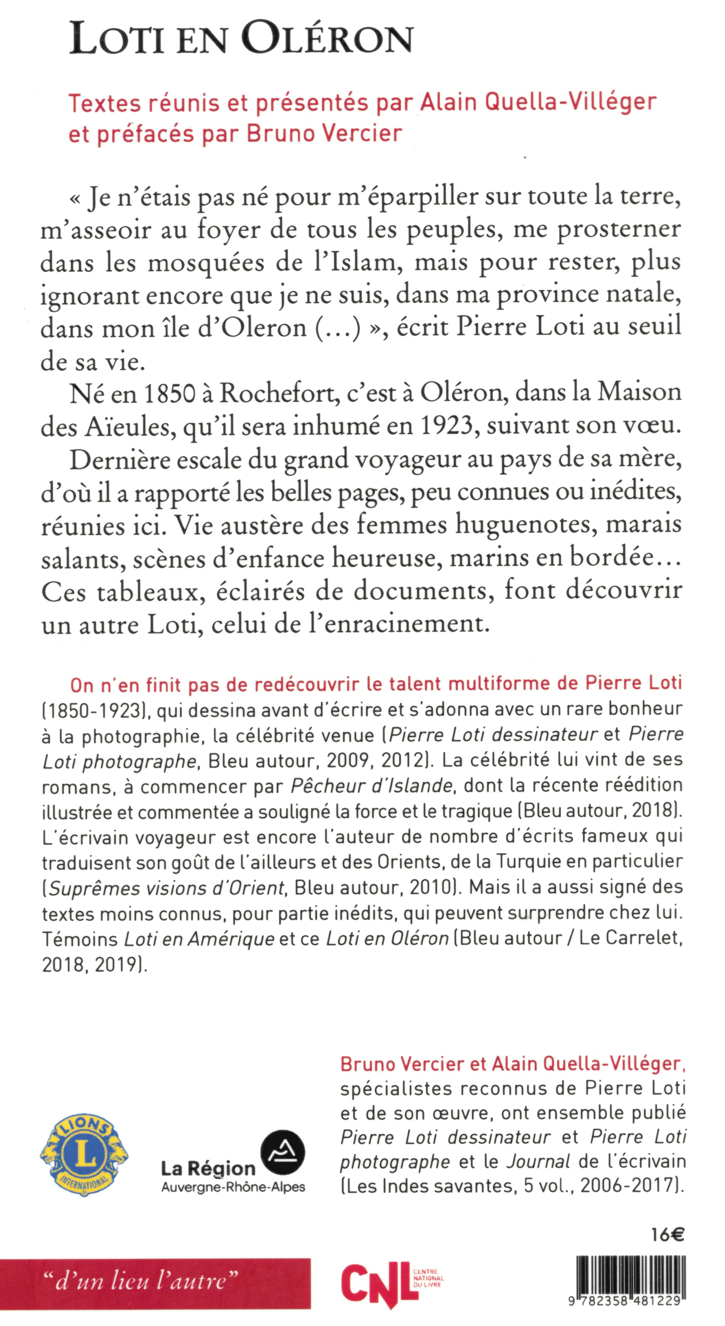 4ième couverture livre Pierre Loti-Oléron AQV