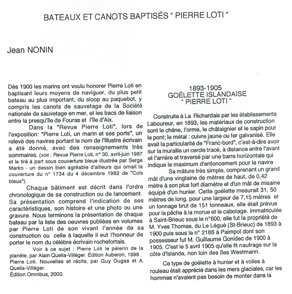 1a-Bateaux et canots baptisés Pierre Loti - Jean Nonin