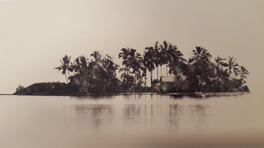 Le Motu Uta, îlot de villégiature de la Reine Pomaré IV (photo de Gustave Viaud)