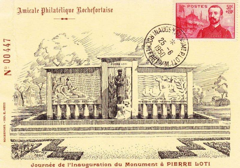 Loti Pierre timbre 1950 enveloppe inauguration Mt Loti