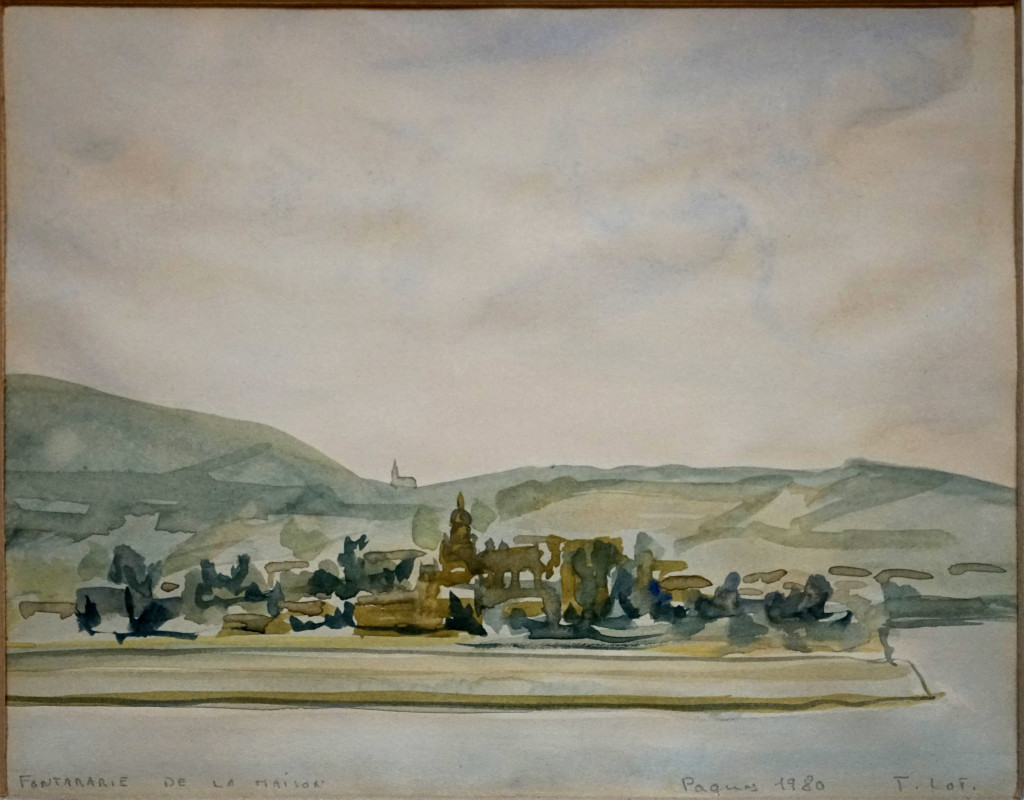 """Aquarelle sur papier, 19 x 23,5 cm, de Jacques Loti, Pâques 1980, """"Fontarabie de la maison"""". Coll. part. © APLH"""