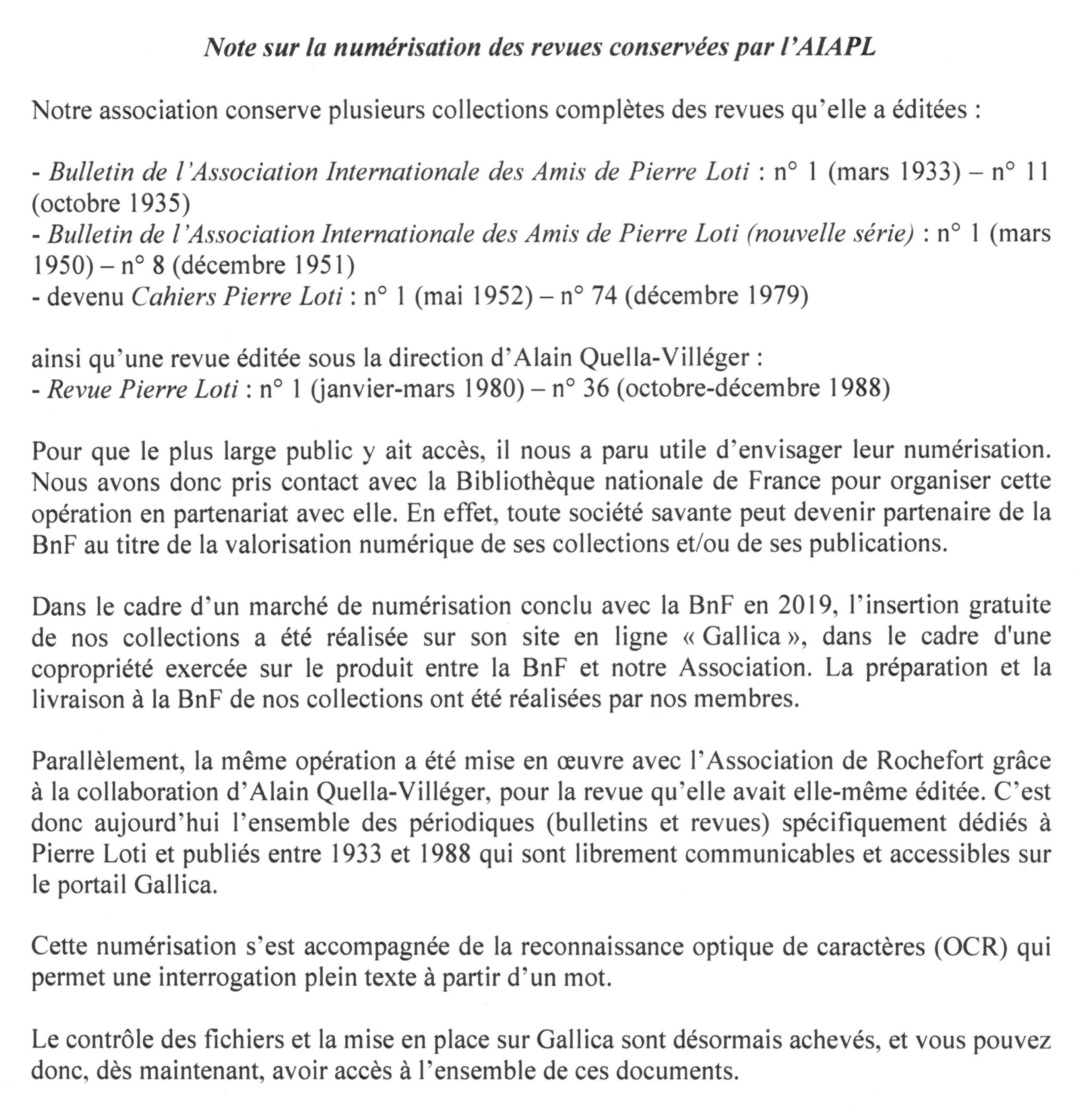 Numerisation revues AIAPL avec BnF