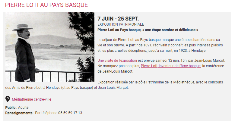 Expo Bayonne 7 au 25-9-21-Loti Basque