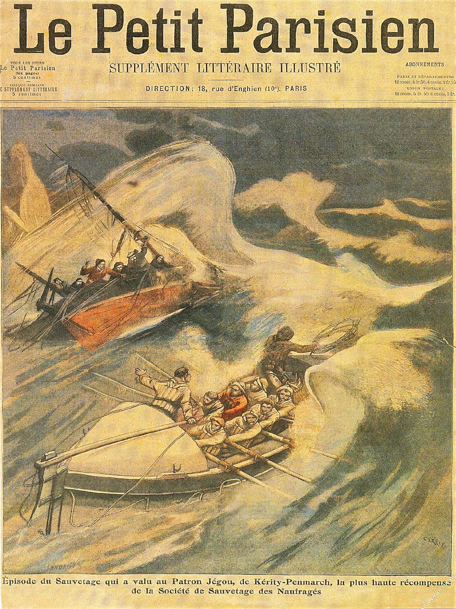 Le Petit Parisien du 21 mai 1905 - Sauvetage avec un canot à rames (station de Kérity). Coll. SNSM