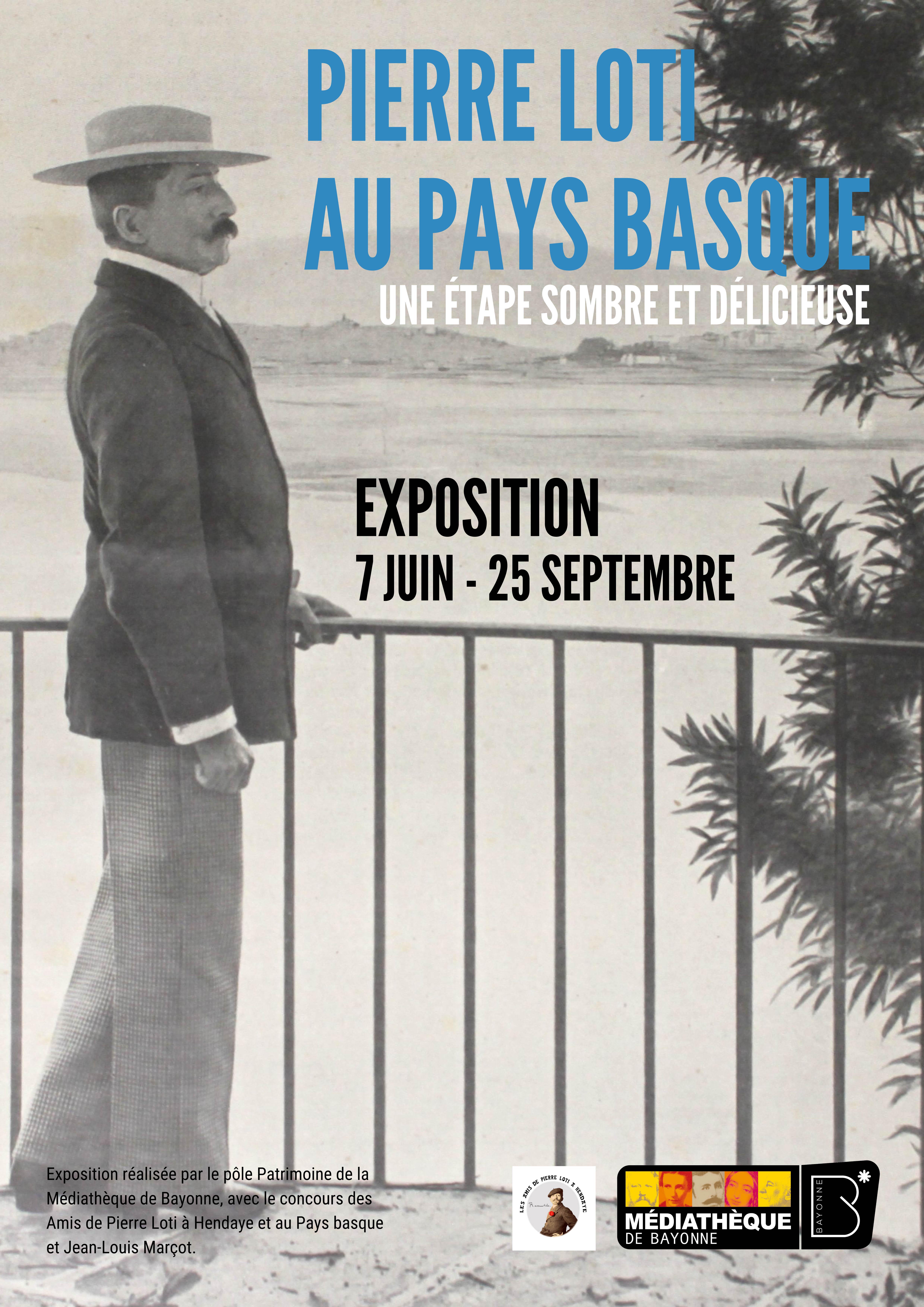 Affiche de la médiathèque de Bayonne annonçant l'exposition Pierre Loti au Pays basque